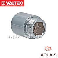 """Удлинитель латунный VALTEC хромированный DN 1/2""""x60 мм."""