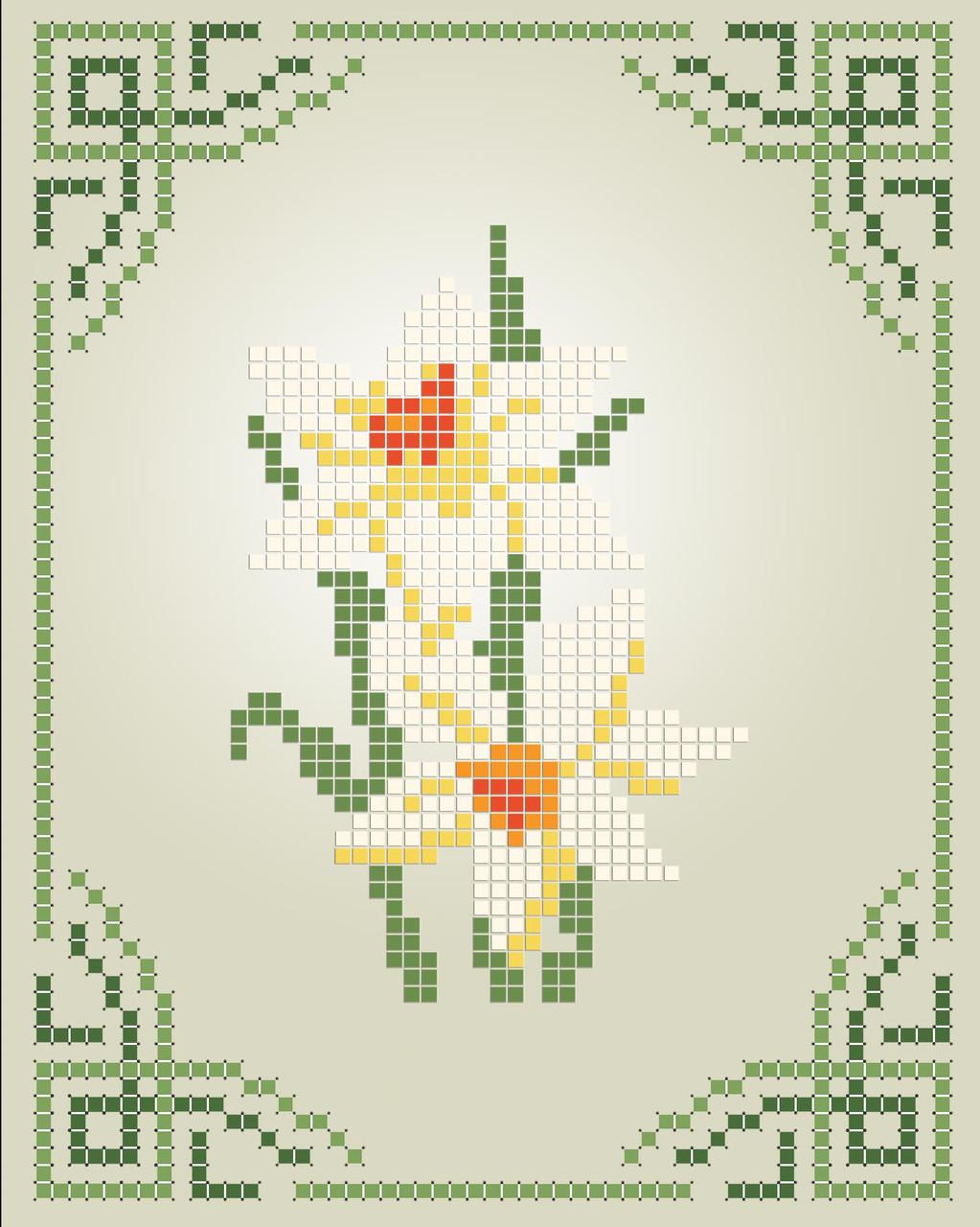 Схема для вишивки та вишивання бісером Бисерок «Нарцисси» (A6) 10x15 (ЧВ-1111)