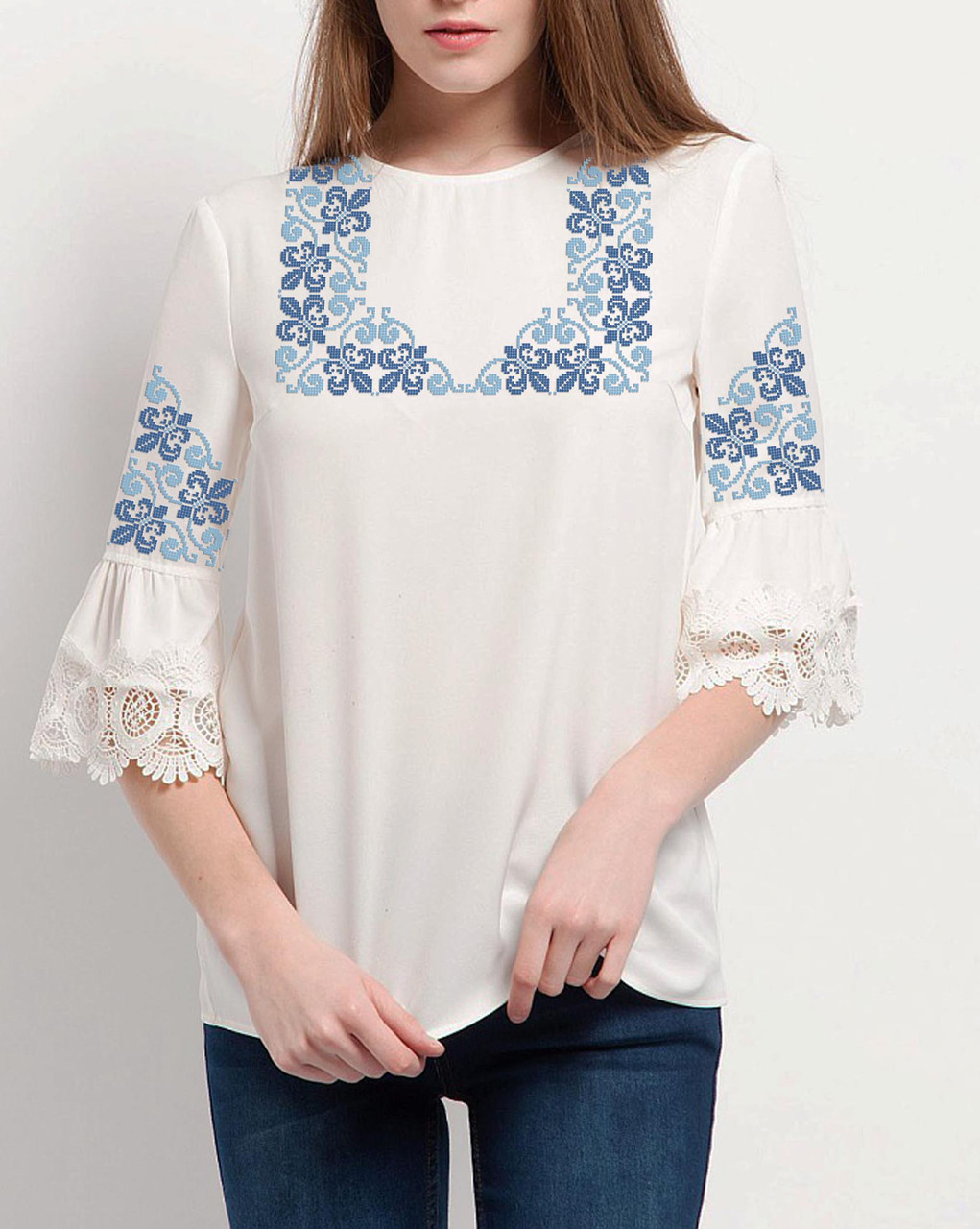 Заготовка вишиванки жіночої сорочки та блузи для вишивки бісером Бисерок  «Французька лілія» (Б-132 )