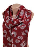 Красный вязаный шарф женский