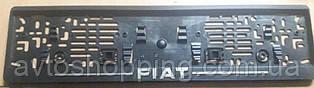 Рамка под номер с металлической надписью Fiat Фиат, Рамка Черная