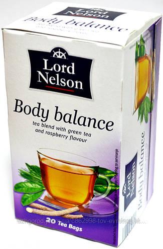 Чай зеленый, и листья малины Lord Nelson Body balance  20 пакетов.