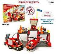 Конструктор JIXIN  9188 А «Пожарная станция» на батарейках, 70 деталей