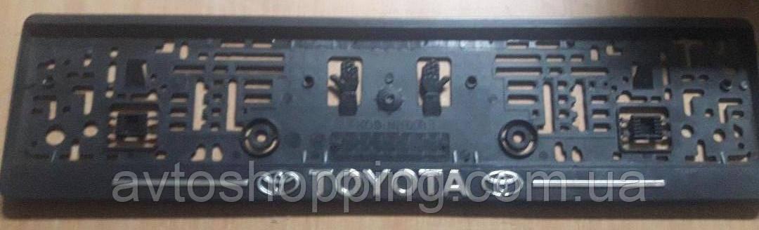 Рамка под номер с металлической надписью Toyota, Рамка Черная