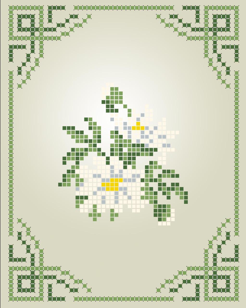 Схема для вишивки та вишивання бісером Бисерок «Ромашки» (A6) 10x15 (ЧВ-1104)