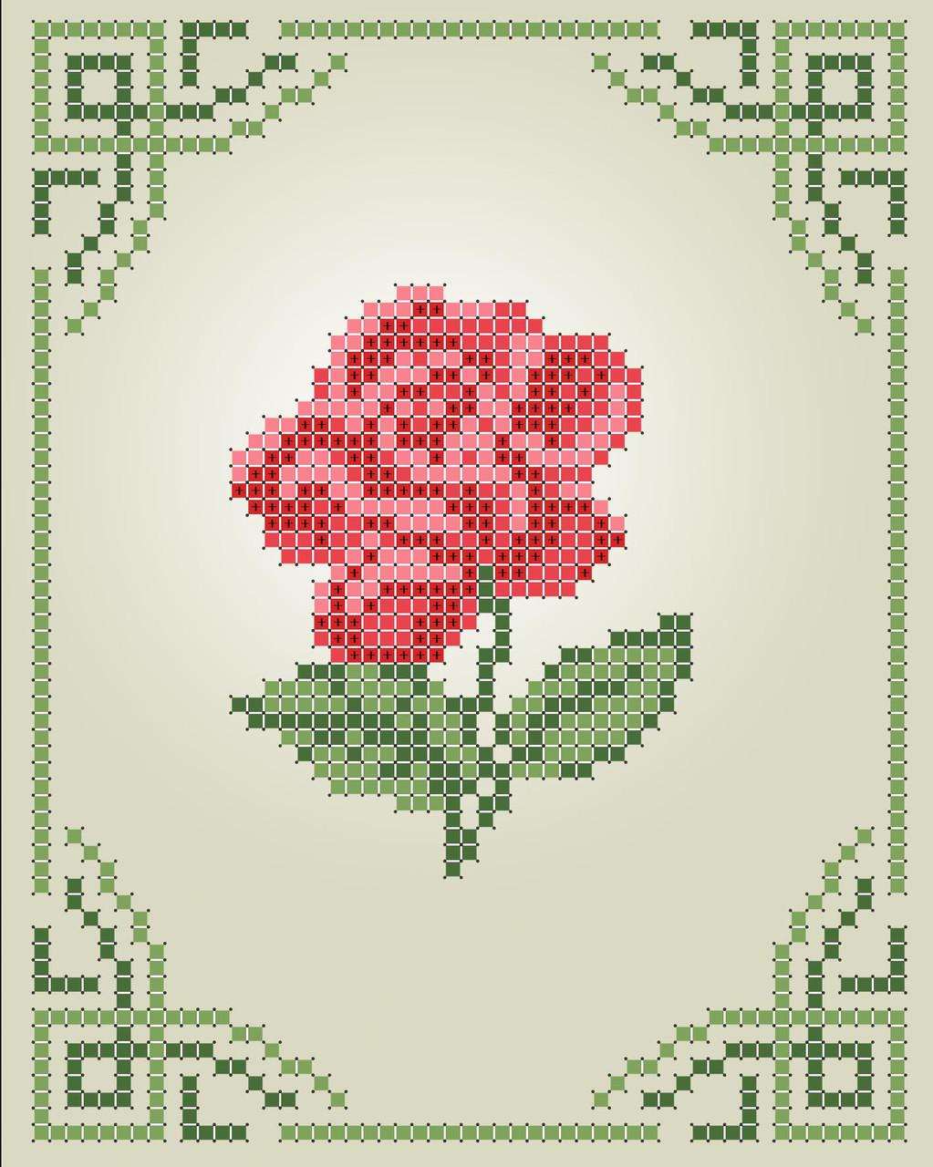 Схема для вишивки та вишивання бісером Бисерок «Роза» (A6) 10x15 (ЧВ-1101)