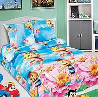Подростковое полуторное постельное белье с простыней на резинке 90*200*25 - Медовая фея, поплин