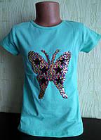 Футболка  для девочки Бабочка, пайетки меняют цвет