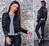 Куртка кожаная женская короткая, материал - эко-кожа, цвет - черный