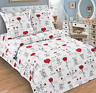 Подростковое полуторное постельное белье с простыней на резинке (1наволочка), Любовь-морковь, поплин
