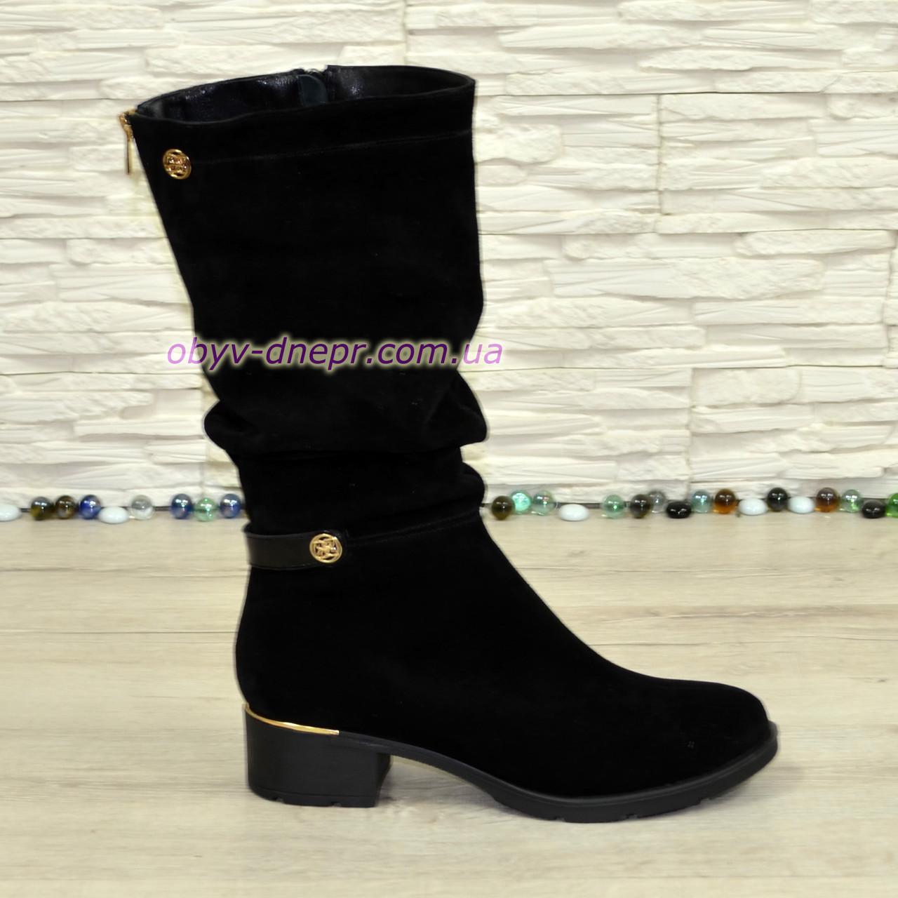 Сапоги женские   на устойчивом каблуке, натуральная черная замша.