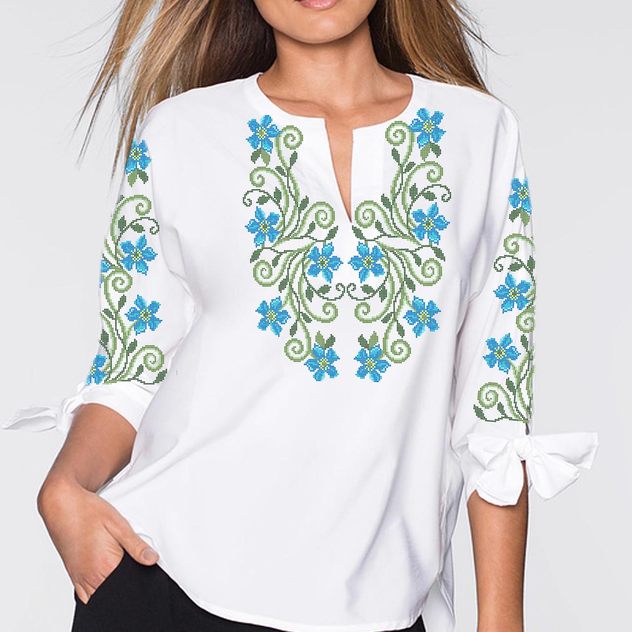 Заготовка вишиванки жіночої сорочки та блузи для вишивки бісером Бисерок «Барвінок 112» (Б-112 )