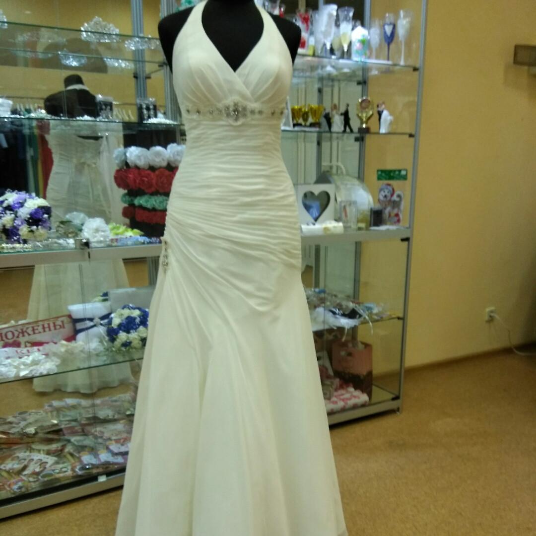 Свадебное платье шифоновое недорого (48р). ТГ-6