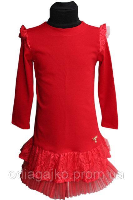 6a8638f0bf6 ... Нарядное детское платье Арина креп дайвинг + гипюр+фатин красное  116