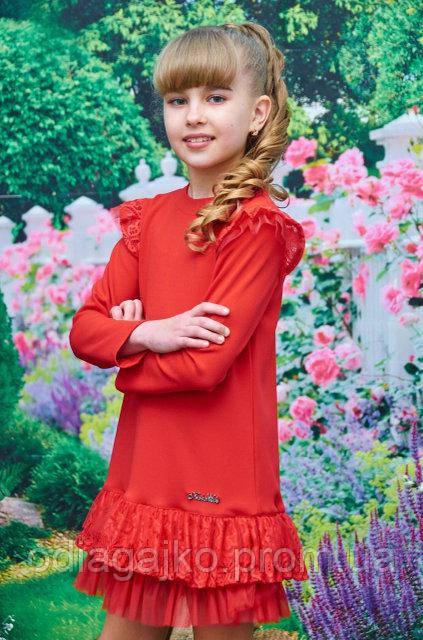 5447a9582a0 Нарядное детское платье Арина креп дайвинг + гипюр+фатин красное ...