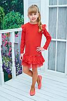 Нарядное детское платье Арина креп дайвинг + гипюр+фатин красное 116,122.128,134 см