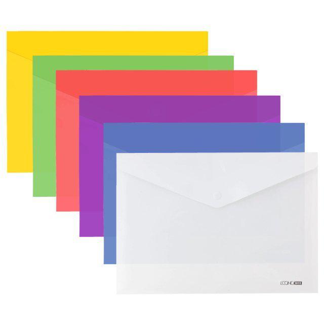 Папка-конверт А4 на кнопке Economix, глянец 180 мкм