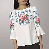 Заготовка вишиванки жіночої сорочки та блузи для вишивки бісером Бисерок  «Лілія в орнаменті 106» 7e123017d47c9