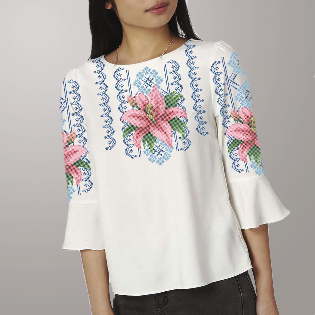 Заготовка вишиванки жіночої сорочки та блузи для вишивки бісером Бисерок «Лілія в орнаменті 106» (Б-106  )
