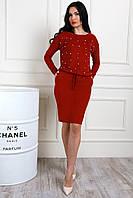 Бордовое платье из замши с бусинками
