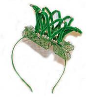 Обруч для девочки для волос Корона зеленый