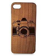 """Дерев'яний чохол  Wooden Cases для Apple iPhone 6/6s з лазерним гравіюванням """"Photo Camera"""" Вишня"""