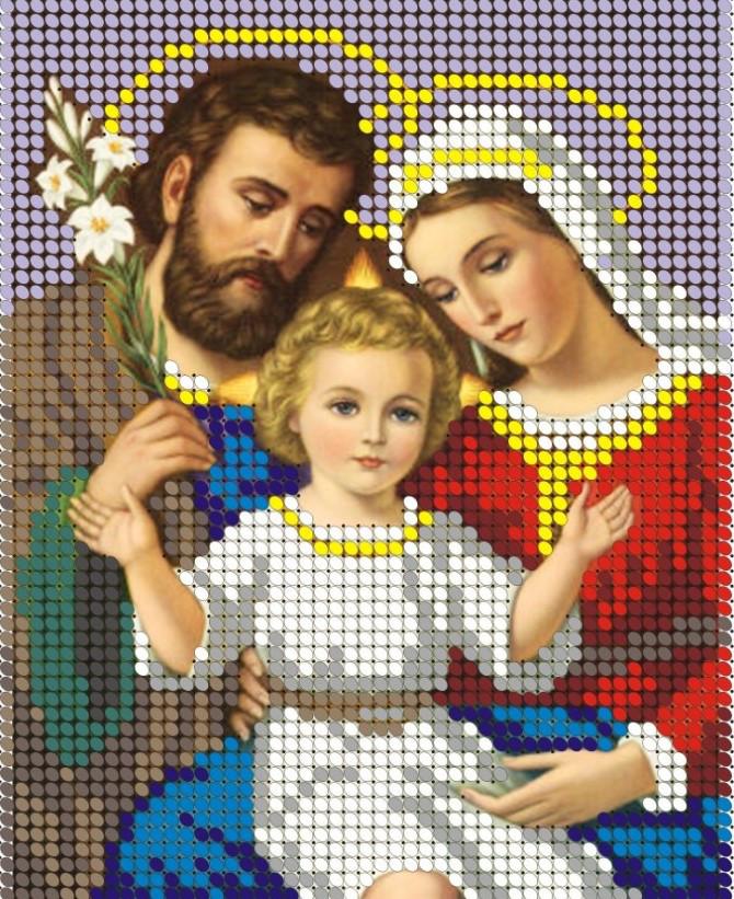 Схема для вишивки та вишивання бісером Бисерок «Святе сімейство» (A6) 10x15 (ЧВ-1039)