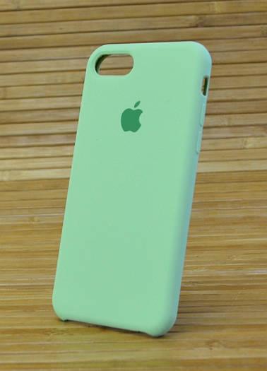 Чехол для Айфон, iPhone 7 с матово-шелковистым силиконом Original (COPY) зелёный