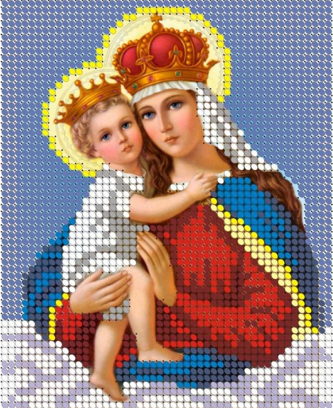 Схема для вишивки та вишивання бісером Бисерок «Мадонна з немовлям» (A6) 10x15 (ЧВ-1037)