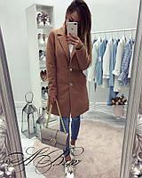 Женское модное пальто на пуговицах ткань кашемир бежевое