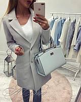 Женское модное пальто на пуговицах ткань кашемир серое