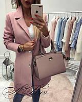 Женское модное пальто на пуговицах ткань кашемир розовое, фото 1