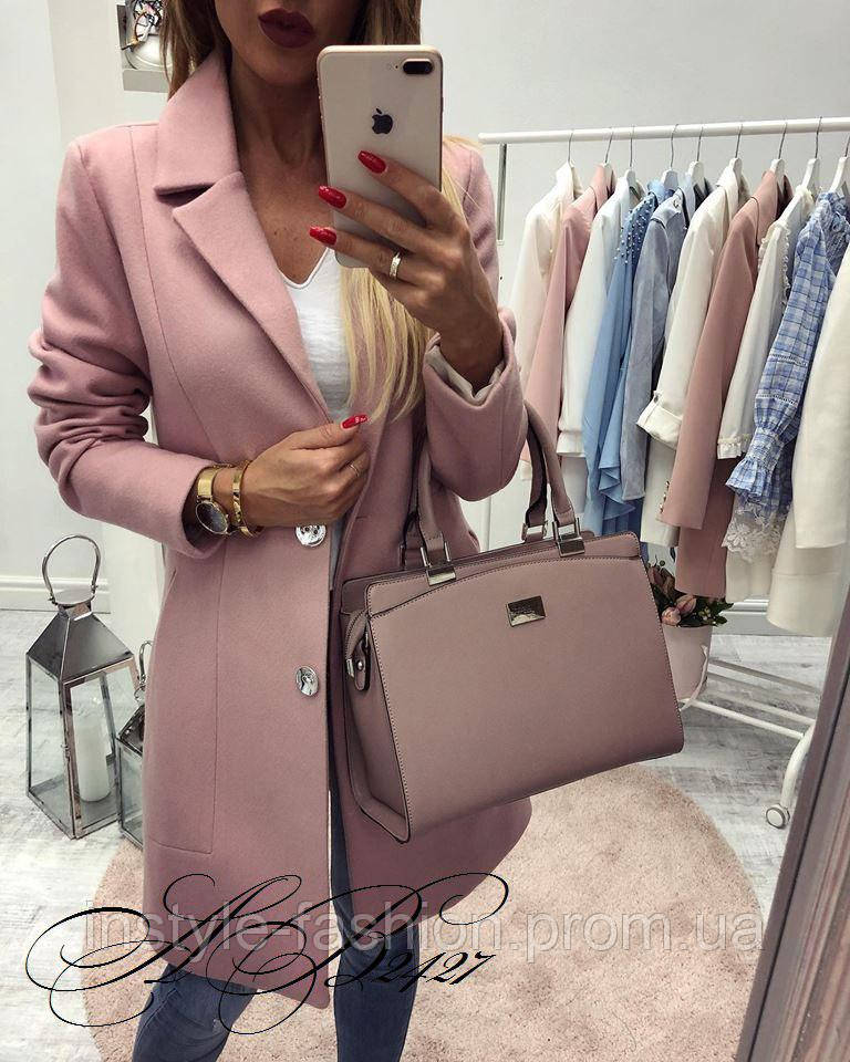 Женское модное пальто на пуговицах ткань кашемир розовое