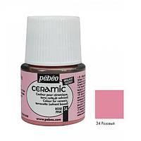 Краска акриловая для стекла и керамики Pebeo Ceramic 45мл Розовый P-025-034
