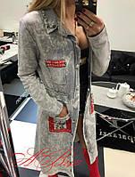 Кардиган женский с карманами ткань стретчь джинс Турция цвет светло-серый