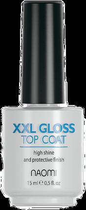 Naomi XXL Gloss Top Coat - верхнее покрытие для мега-яркого блеска, 15 мл