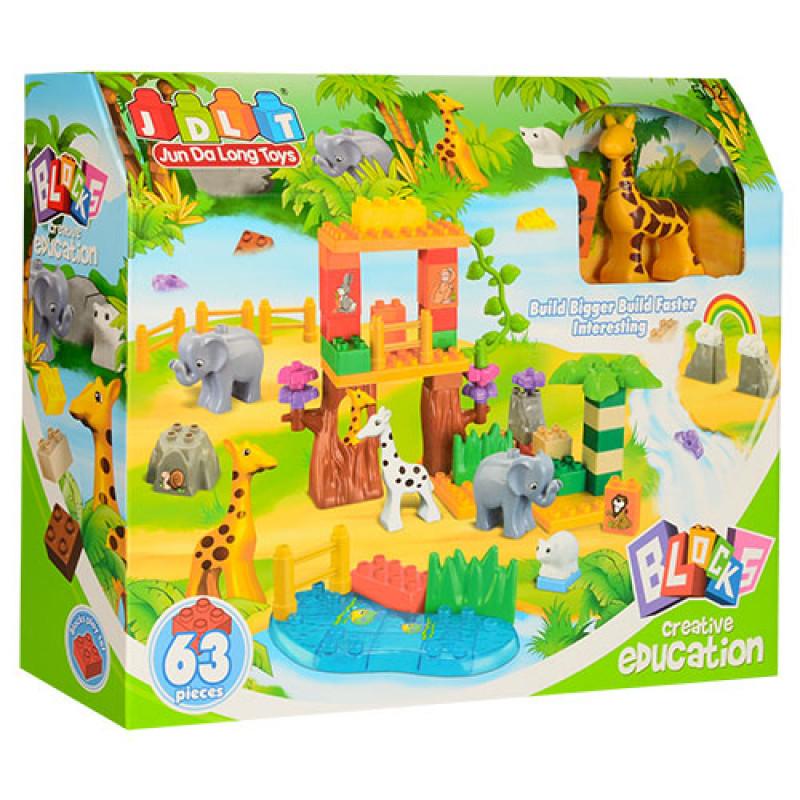 Конструктор JDLT 5021 зоопарк, 63 дететалі, в коробці (аналог Lego Duplo)