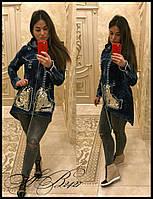Кардиган-куртка на молнии с капюшоном ткань плотный джинс+пайетка Турция