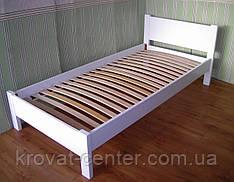 """Белая кровать """"Эконом"""". Массив - сосна, ольха, береза, дуб."""