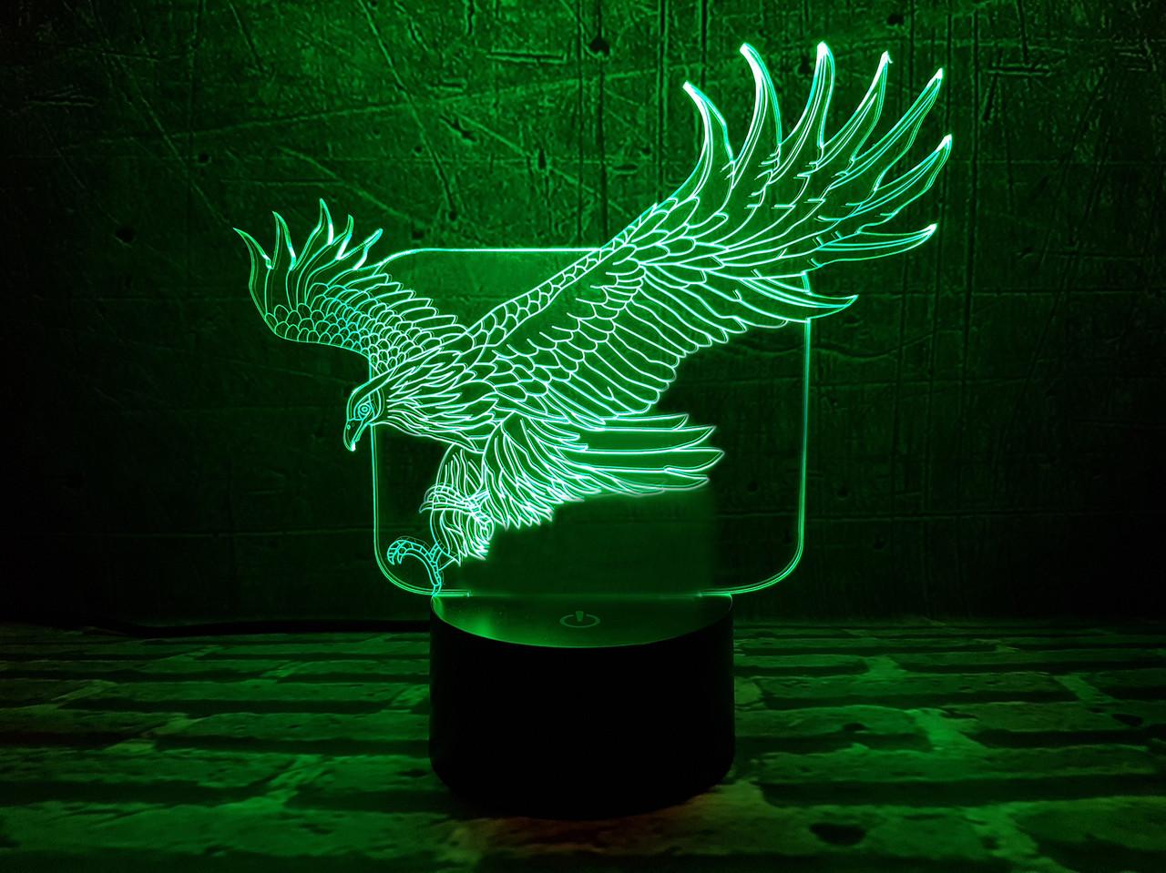 "3d светильник ""Орел в полете"" 3DTOYSLAMP, фото 1"