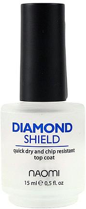 Naomi Diamond Shield - быстросохнущий алмазный закрепитель для лака, 15 мл