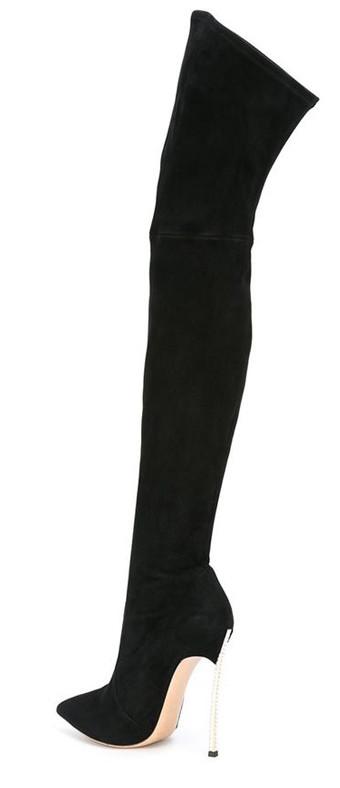 e031f14c26f2 Стильные замшевые сапоги ботфорты на высоком каблуке в стиле Casadei 36