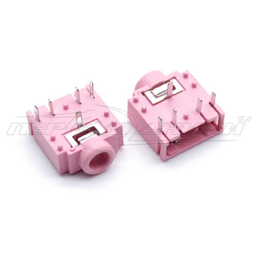 Разъем PJ-307-5P гнездо 3.5 мм стерео, монтажное на плату с выключателем (пластик), розовый