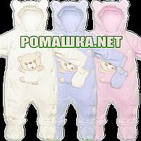 Детский утеплённый велюровый человечек р. 68 74 для новорожденного на подкладке 1505 Бежевый