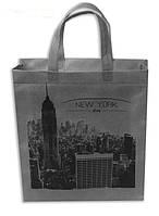 """Эко сумка, вертикальная, BOX, """"New York City"""" с молнией 30*35*10"""