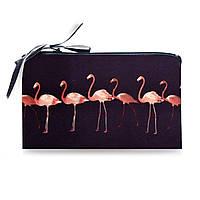 Косметичка Flamingo подарок девушке с принтом фламинго из неопрена