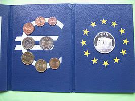 Греция, набор евро монет 2002 г . UNC. + серебряный жетон