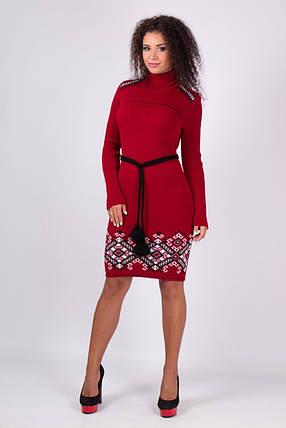 Платье вязаное Иванка вишня-белый, фото 2