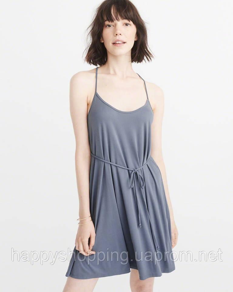 Женское синее мини платье из вискозы американского бренда Abercrombie & Fitch