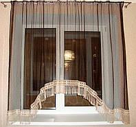 Тюль арка для кухні сітка Tassels 3 м венге, фото 1